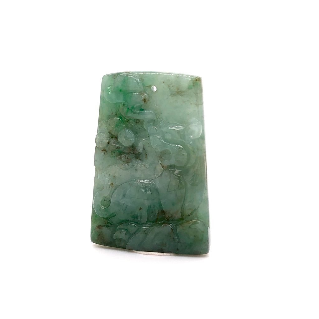 A-Grade Natural Climbing Tiger Carving Jadeite Pendant No.220253
