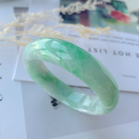 51.2mm A-Grade Natural Moss On Snow Jadeite Modern Round Bangle No.151655