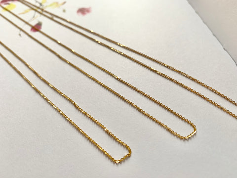 42cm Flat Ring Necklace Chain (18k Gold)