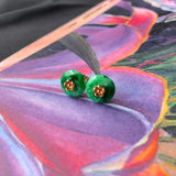 SOLD OUT: A-Grade Natural Floral Imperial Green Jadeite Cherry Blossom Stud Earring (18k Rose Gold) No.130122