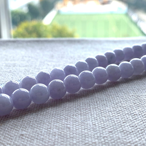 SOLD OUT: 8.4mm A-Grade Natural Lavender Jadeite Beaded Necklace No.190195
