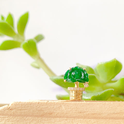 A-Grade Natural Imperial Green Jade Mini Potted Tree Pendant (18k Gold and Diamonds) No. 170661