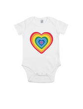Load image into Gallery viewer, Rainbow Heart Baby Onesie