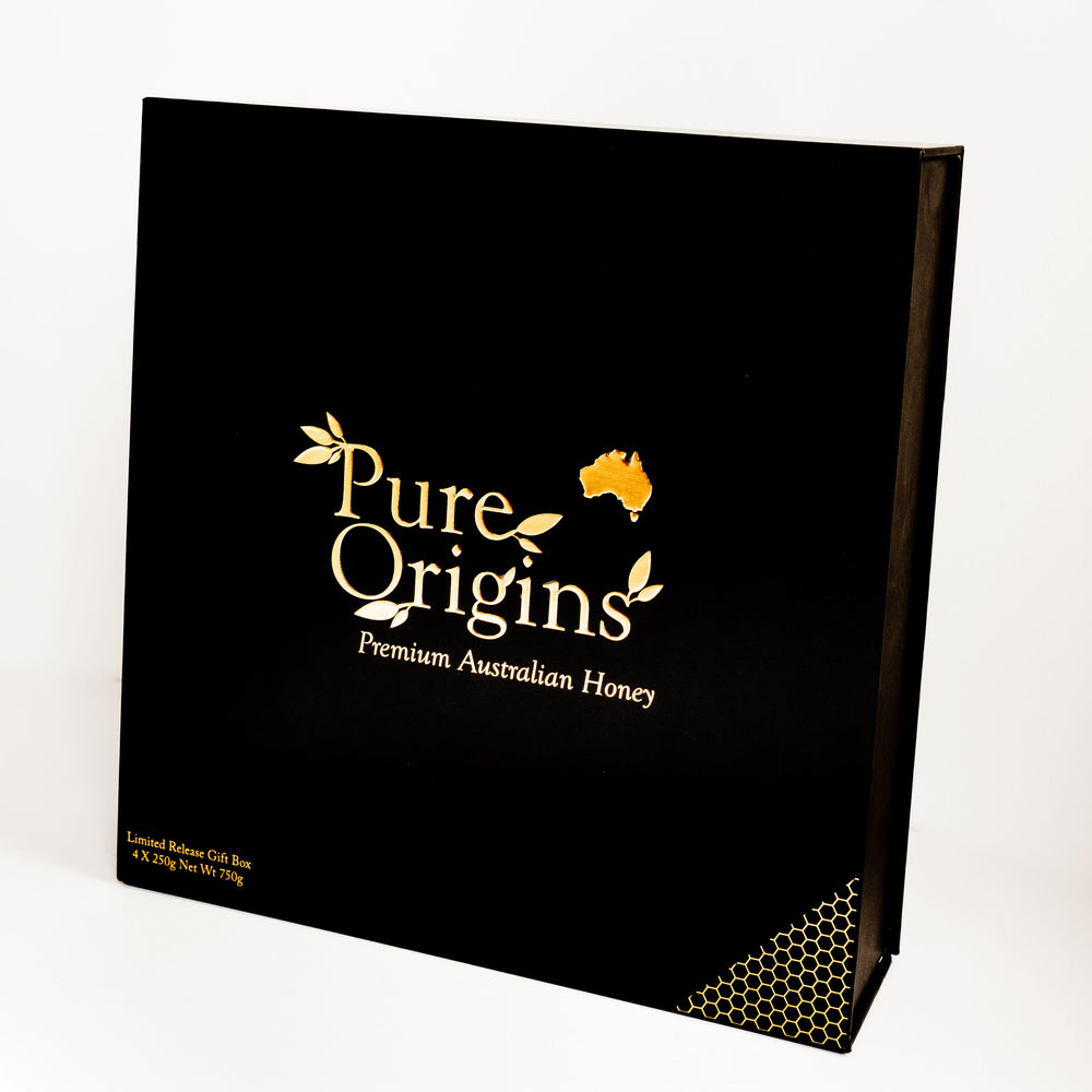 PURE ORIGINS NATIVE AUSTRALIAN HONEY 4 PACK GIFT BOX