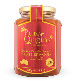PURE ORIGINS ORGANIC LEATHERWOOD HONEY (500g)