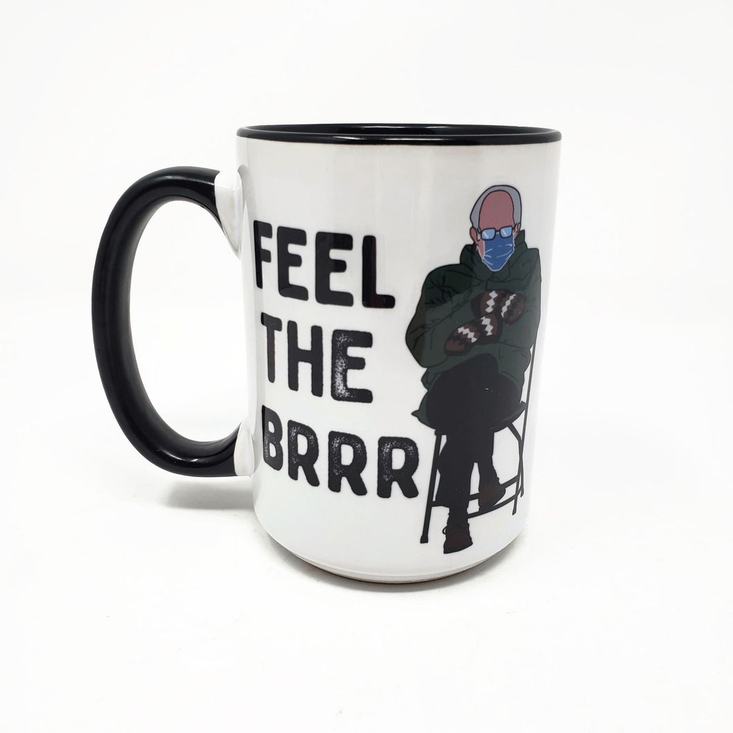 15 oz Extra Large Mug - Bernie Sanders Mittens - Feel the Brrrrr
