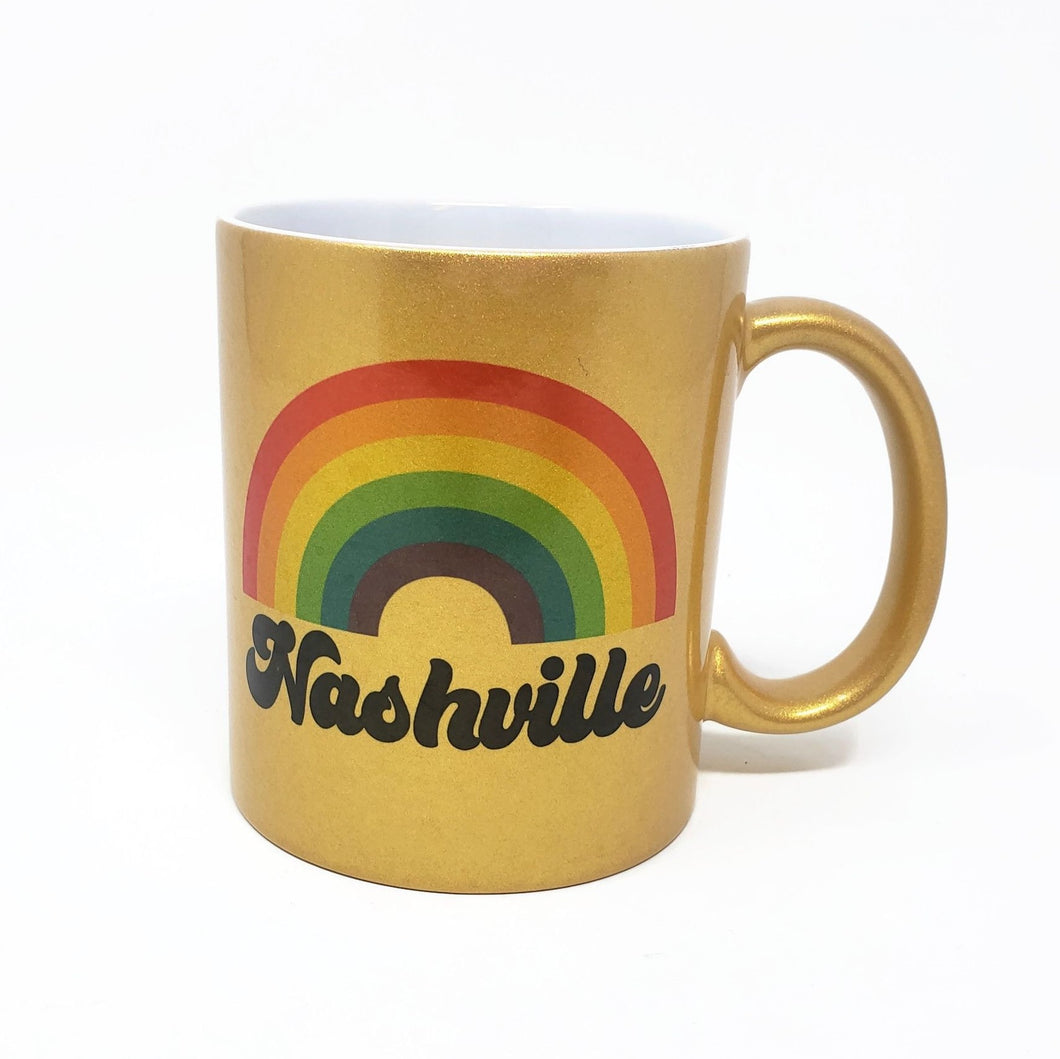 Gold Coffee Mug - Nashville Rainbow