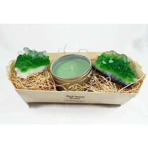 Emerald Quartz Crystal Soap & Candle Gift Set