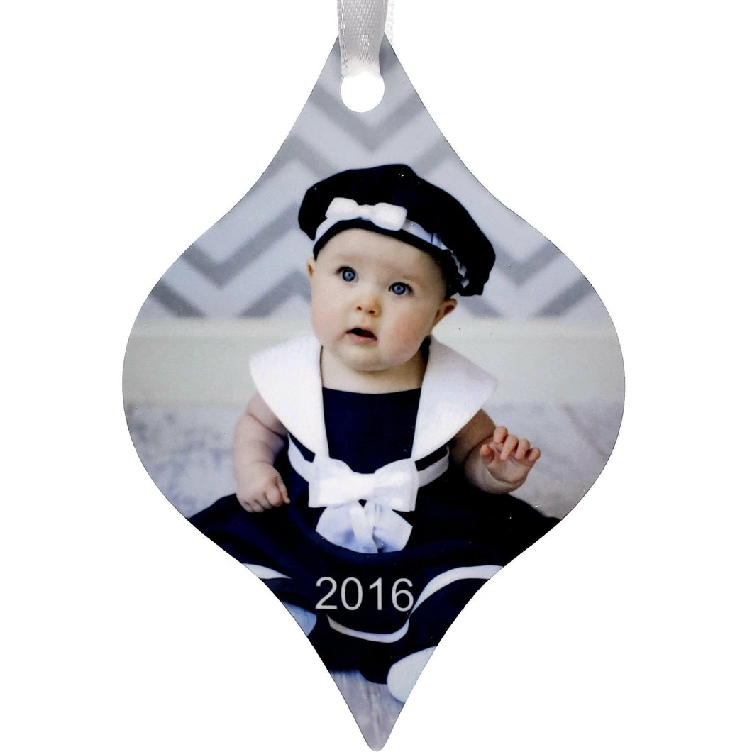 2 Sided Tapered  Aluminum Ornament- Customize With Your Own Image