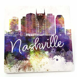"Sandstone ""Thirsty Stone"" Coaster  - Nashville Watercolor"