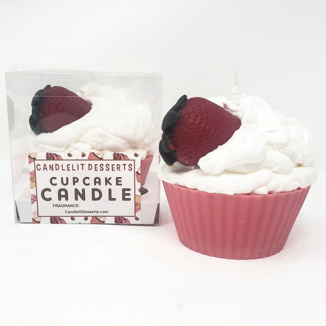 Jumbo Strawberry  Cupcake Candle