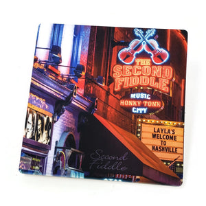 "Sandstone ""Thirsty Stone"" Coaster  - Nashville Landmark - Broadway - 2nd Fiddle Layla"