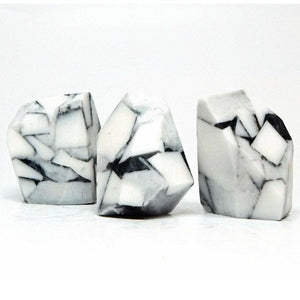White Turquoise Rock Soap Set - Three Pieces - Marble