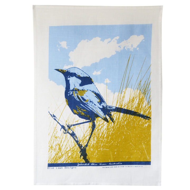 Tea Towel Blue Wren