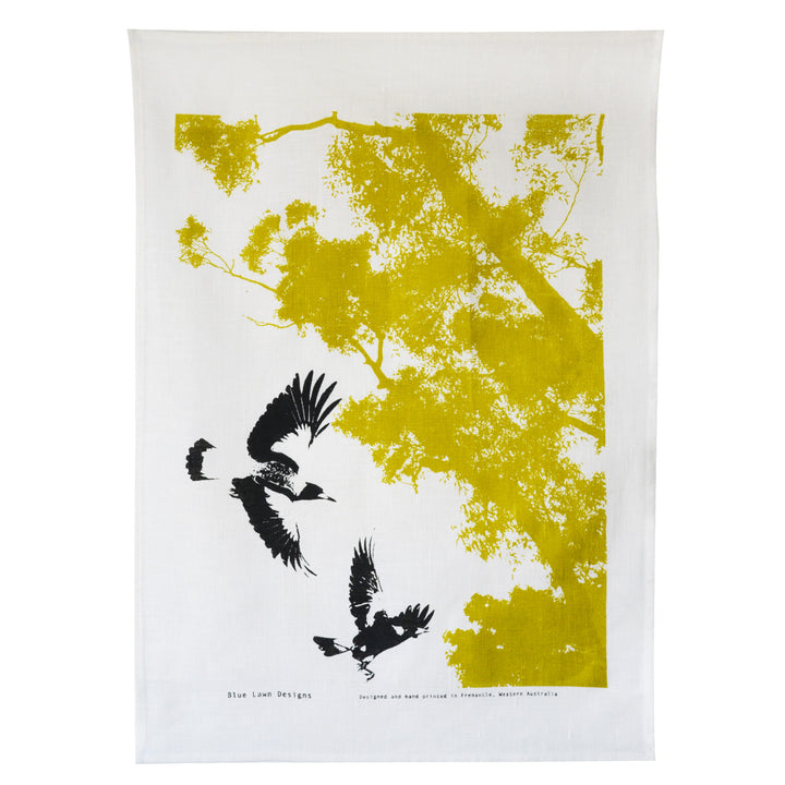 Tea Towel Magpies in Flight