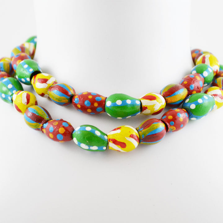 Hand Painted Nut Necklace Green