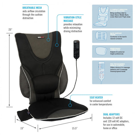 Backrest Support Driver's Seat Cushion with Heat & Massage