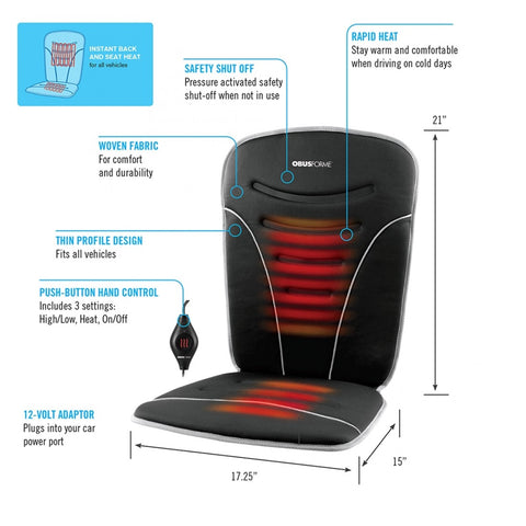 Back and Seat Heated Car Cushion