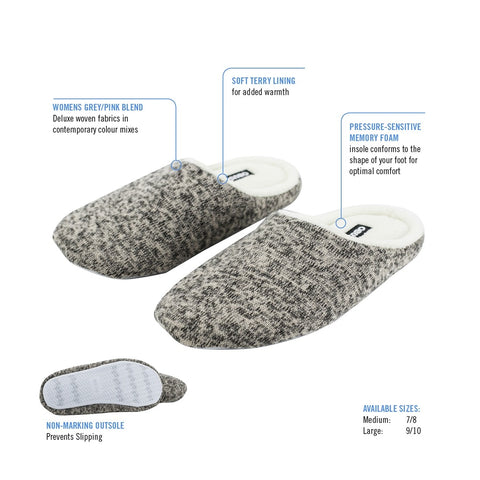 LADIES MEMORY FOAM COMFORT SLIPPERS