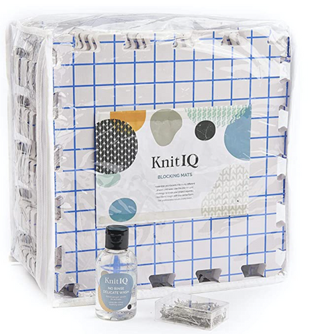 KnitIQ Standard Blocking Mat Bundle with 4 oz No Rinse Delicate Wash