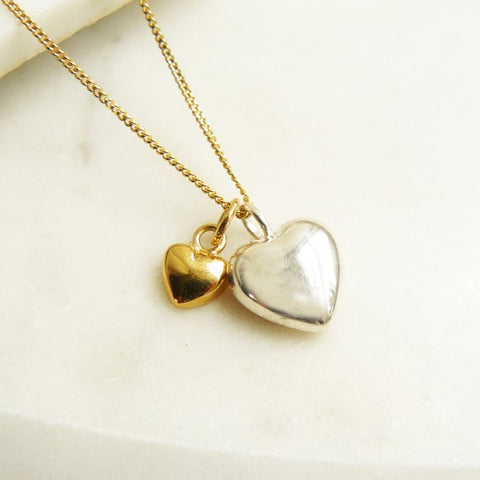 Two Heart Necklace, Silver/Gold