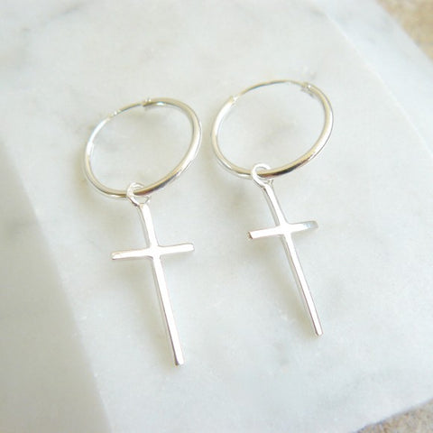 Hoop Earrings Cross Charm
