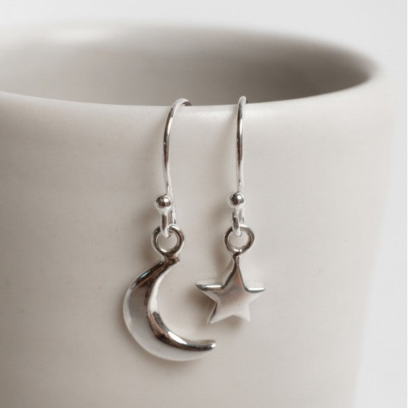 Hook Earrings Silver Moon/Star