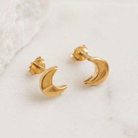 Stud Earrings Moon/Gold