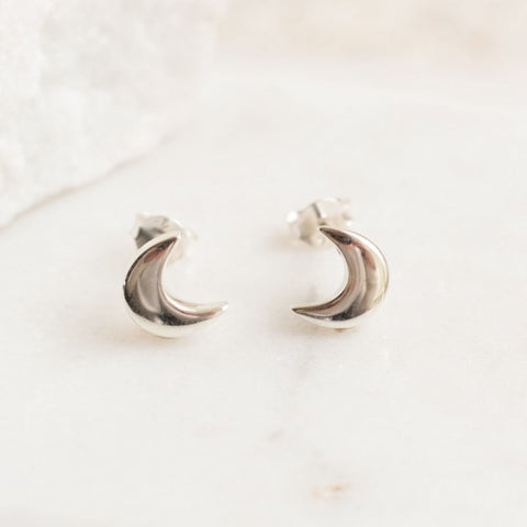 Stud Earrings Moon/Silver