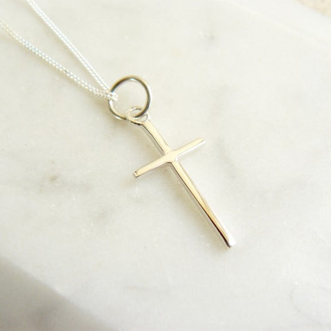 Large Cross Necklace Silver