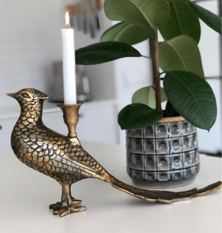 Candle Holder - Pheasant Brass