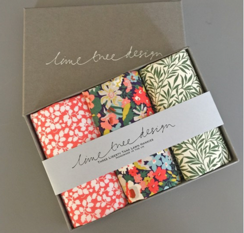 3 Liberty Hankies in a Gift Box - RobinH