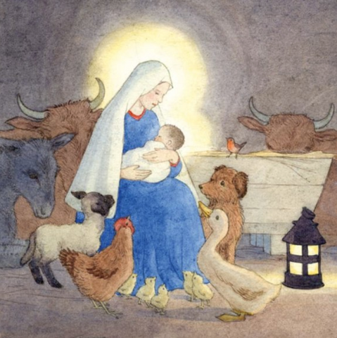 Madonna and Child With Animals Round