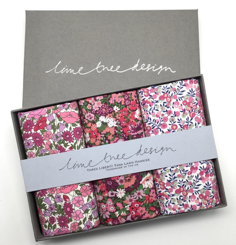 3 Liberty Hankies in a Gift Box - Tickled Pink