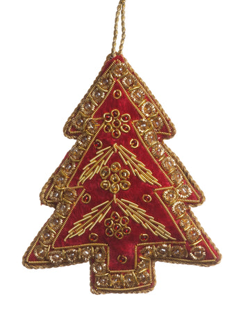 Red Embroidered Tree