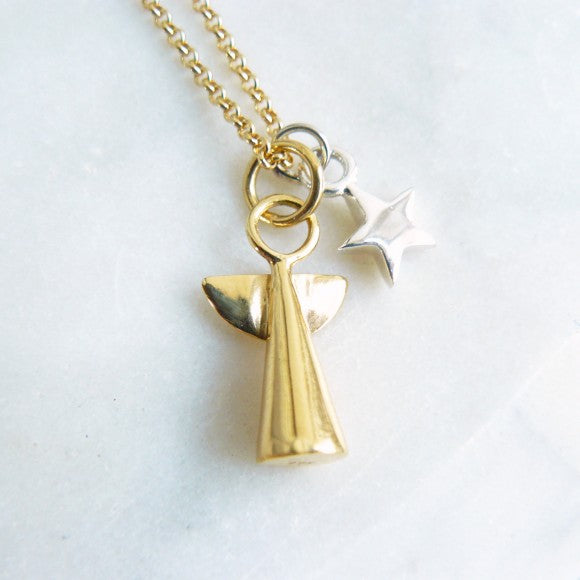 Gold Vermeil Angel and Silver Star Necklace
