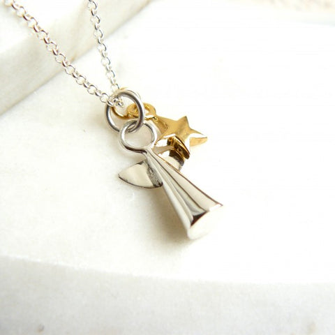 Silver Angel and Gold Star Necklace