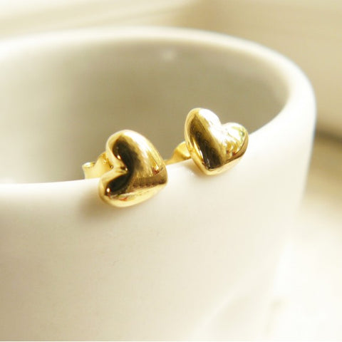 Stud Earrings Heart/Gold