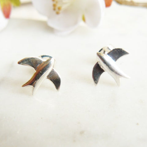 Stud Earrings, Swallow/Silver