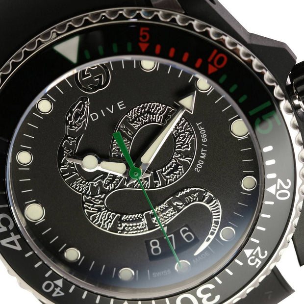 Gucci Dive Quartz Snake Black Dial Watch YA136323
