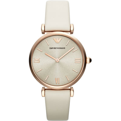 Emporio Armani Light Brown Dial White Leather AR1769