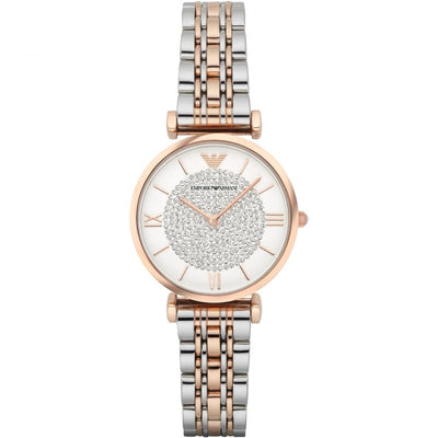 Emporio Armani White Crystal Pave Dial Two-Tone Watch AR1926