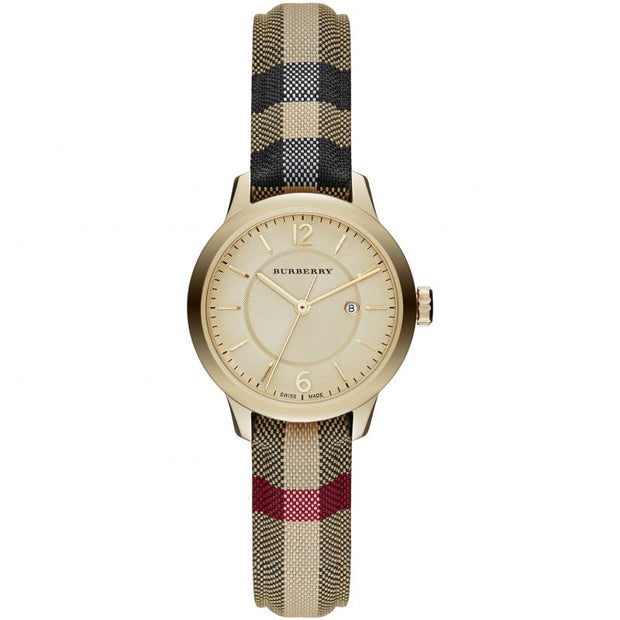 Burberry The Classic Honey Check Fabric-Coated Leather BU10104