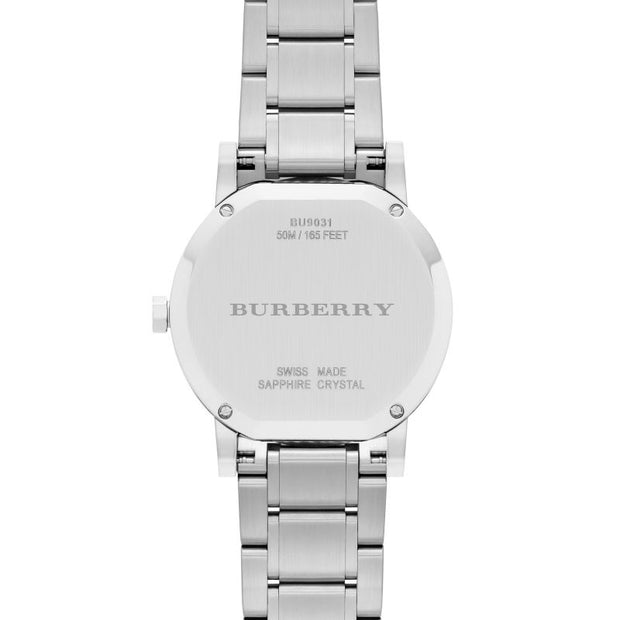 Brand: Burberry Series: The City Model: BU9031 Gender: Men's Movement: Quartz Water Resistance: 50 meters / 165 feet Features: Stainless Steel