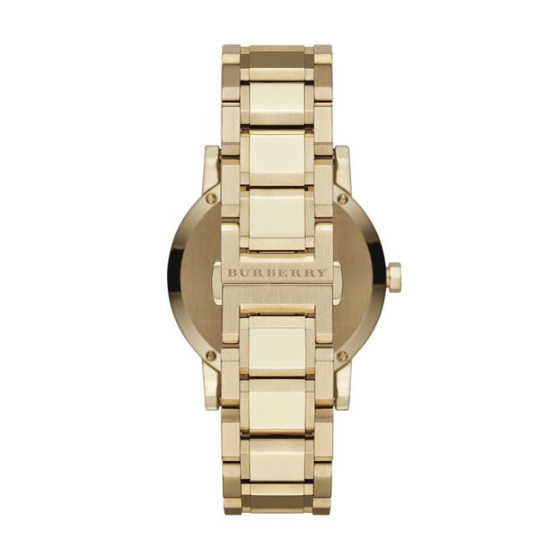 Brand: Burberry Series: The City Model: BU9033 Gender: Men's Movement: Quartz Water Resistance: 50 meters / 165 feet Features: Gold, Stainless Steel