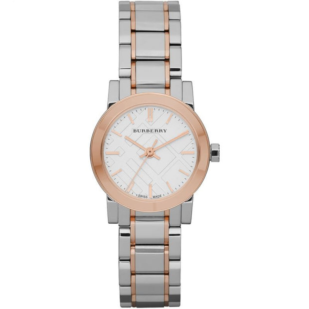 Burberry White Dial Rose Gold Ion-Plated Bezel BU9205