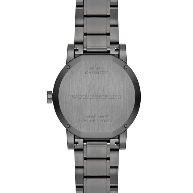 Brand: Burberry Series: The City Model: BU9902 Gender: Men's Movement: Quartz Water Resistance: 50 meters / 165 feet Features: Date, Hour, Minute, Small Second
