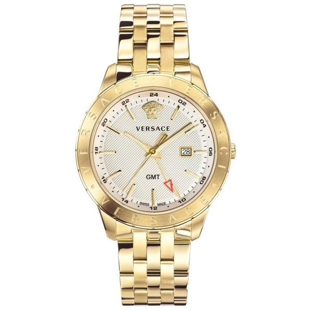 Brand: Versace Series: Univers Model: VEBK00518 Gender: Men's Movement: Quartz Water Resistance: 30 meters / 100 feet Features: Analog, GMT, Gold, Stainless Steel, Time Zone