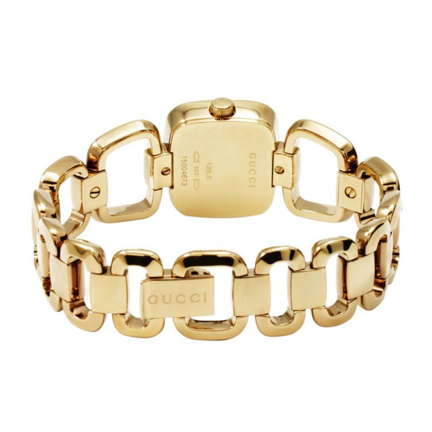 Brand: Gucci Series: G-Gucci Model: YA125513 Gender: Ladies Movement: Quartz Water Resistance: 30 meters / 100 feet Features: Diamond, Gold, Stainless Steel
