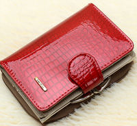 Fashion Real Patent Leather Women Short Wallets with box